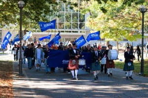 UBC CUPE Locals 116, 2278, and 2950 marching through campus