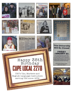 Happy 35th CUPE 2278 poster