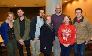 """Members of the CUPE 2278 exec at a screening of the film """"We are Wisconsin"""""""