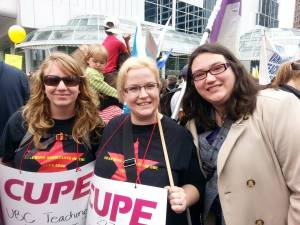 CUPE 2278 Exec members Molly and Trish with CUPE 2950 President Karen Ranalletta at a BCTF rally in early 2015